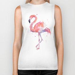 Flamingo Watercolor Biker Tank