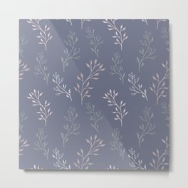 purple botanical gentle female seamless pattern Metal Print