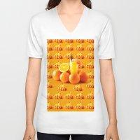 orange pattern V-neck T-shirts featuring Orange Pattern by Azeez Olayinka Gloriousclick