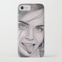 cara delevingne iPhone & iPod Cases featuring Cara Delevingne by Eliya Haliwa