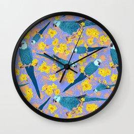 Spix Macaw Flower Power Wall Clock