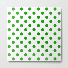 Polka Dot Texture (Green & White) Metal Print