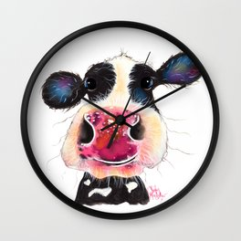 NoSeY CoW ' BuBBLeS ' BY SHiRLeY MacARTHuR Wall Clock