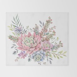 succulent watercolor 9 Throw Blanket