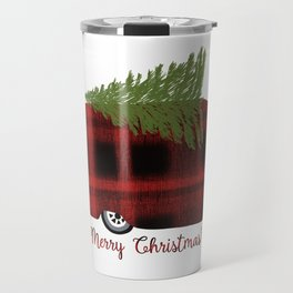 Merry Christmas Camp Trailer In Buffalo Plaid Travel Mug