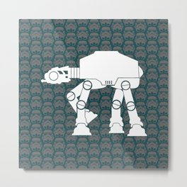 AT-AT  and Stormtroopers On Dark Teal Metal Print