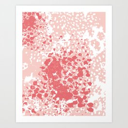 Abstract minimal pink and coral painting home decor abstract charlotte winter art Art Print