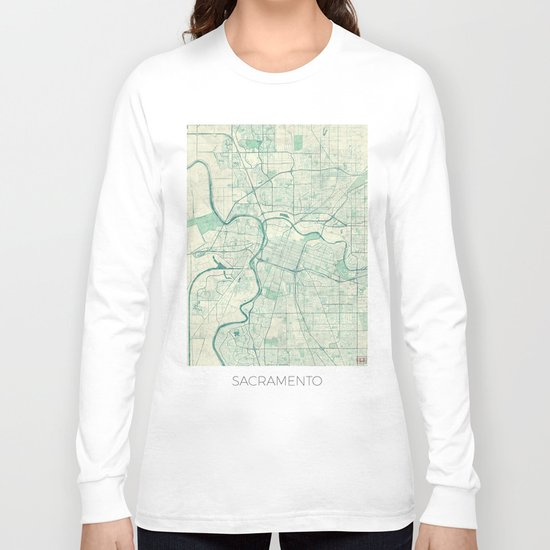 Sacramento Map Blue Vintage Long Sleeve T-shirt