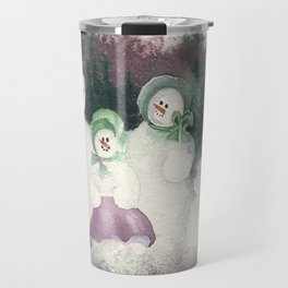 "Snow Family goes out for ""flake"" fry dinner Travel Mug"