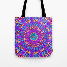 Happy Colors Explosion Psychedelic Mandala Tote Bag