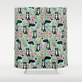 border collie cute florals mint pink black and white dog gifts for dog lover Shower Curtain