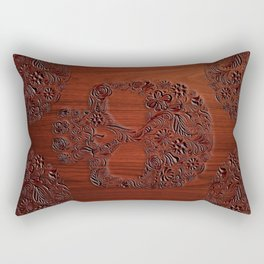 Wood Carved Sugar Skull flower pattern iPhone 4 4s 5 5s 5c, ipod, ipad, pillow case and tshirt Rectangular Pillow