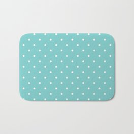 Small White Polka Dots with Aqua Background Bath Mat