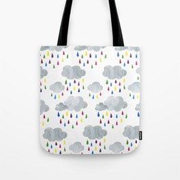 Rainbow Rain Clouds Tote Bag
