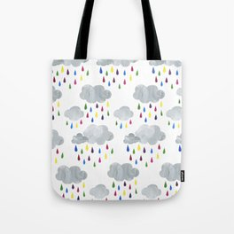 Rainbow Rain Clouds Tote Bag
