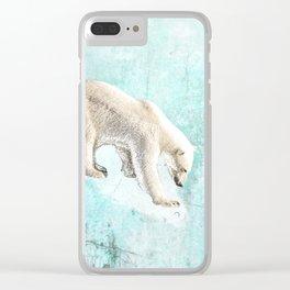 Polar bear on thin ice Clear iPhone Case