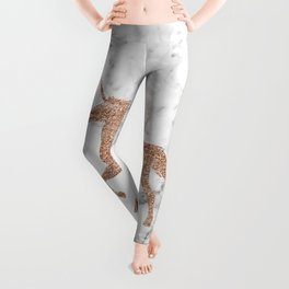 Rose gold unicorn on marble Leggings
