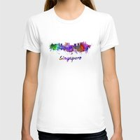 singapore T-shirts featuring Singapore skyline in watercolor by Paulrommer