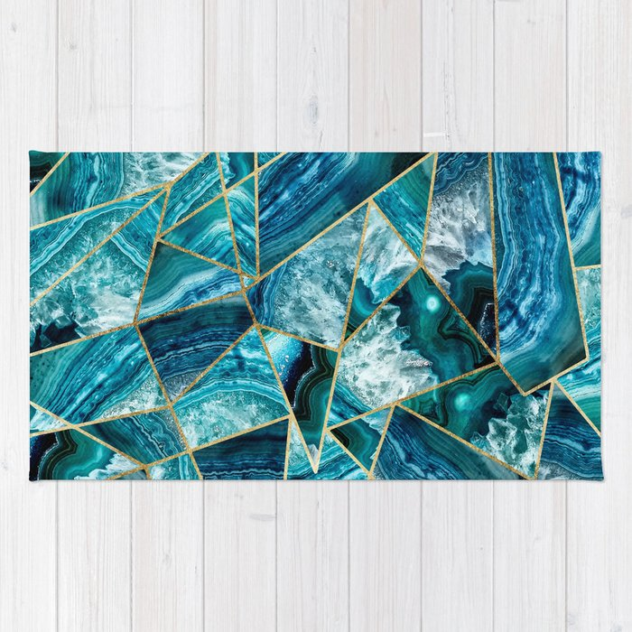 Turquoise Navy Blue Agate Black Gold Geometric Triangles Rug By