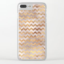 Elegant chic faux gold chevron marble pattern Clear iPhone Case