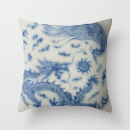 Damask vintage Monaco blue white girly ginger jar floral antique chinese dragon chinoiserie china Throw Pillow