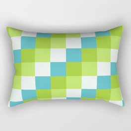 Apples and Pears - Pixelated Pattern with blues and green  Rectangular Pillow