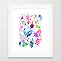 crystals Framed Art Prints featuring Crystals by Monogamy Art