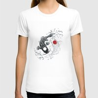 ying yang T-shirts featuring Koi fish ying yang by Maioriz Home