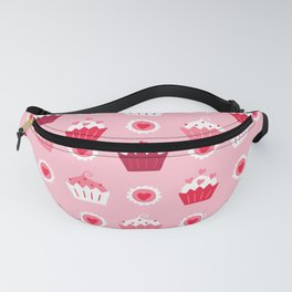 Valentines cupcakes and hearts pattern Fanny Pack