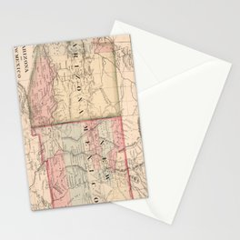 Vintage New Mexico and Arizona Map (1868) Stationery Cards