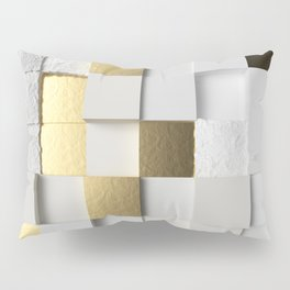Elegant Cube wall 3D art- white and gold Pillow Sham