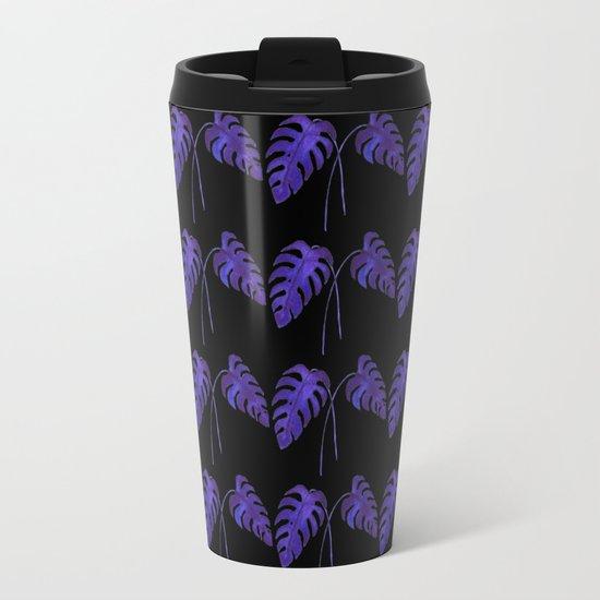 Indigo Monstera Leaf Watercolor on Black Travel Mug