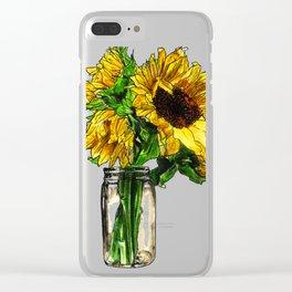 Sunflower In Mason Jar Clear iPhone Case