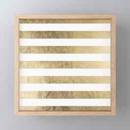 Elegant stylish trendy faux gold modern stripe Framed Mini Art Print