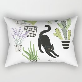 Black cat and plants in the pots. Morning stretch Rectangular Pillow