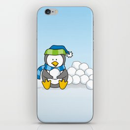 Little penguin sitting with snowballs iPhone Skin