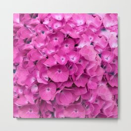 Artful Pink Hydrangeas Floral Design Metal Print