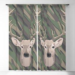 Beautiful buck dear head with big antlers Blackout Curtain