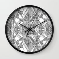 blueprint Wall Clocks featuring Blueprint - monochrome by Etch by Design