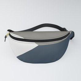 Blue Grey White Abstract Geometric Art Fanny Pack
