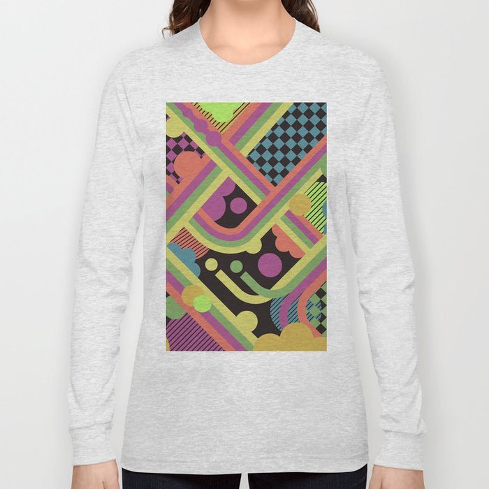 Multi-Color Geometric Fantasy Long Sleeve T-shirt