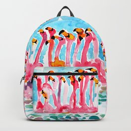 Welcome to Miami - Flamingos Illustration Backpack