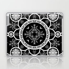 Scarab tile line pattern with black Background Laptop & iPad Skin