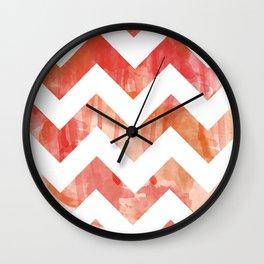 Pink Watercolor Chevron Wall Clock