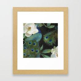 Peacock and Magnolia III Framed Art Print