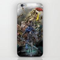 dark souls iPhone & iPod Skins featuring Dark Souls Knights of Gwyn by Donna A. / Karniz