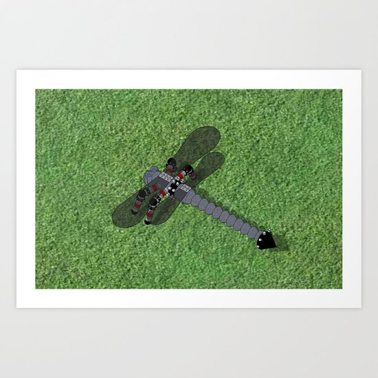 Mechanical Dragonfly Art Print