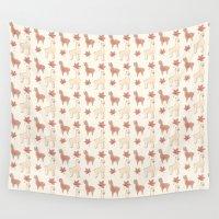alpaca Wall Tapestries featuring Alpaca Pattern by FleetingPrecision