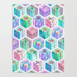 Christmas Gift Hexagons Poster