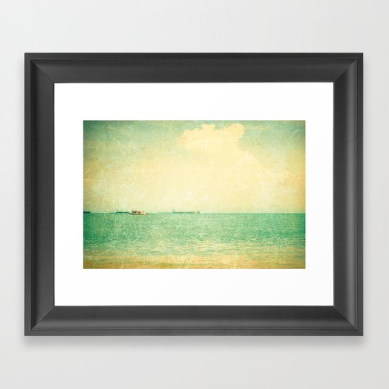 Old sea (vintage textured beach and green sky) Framed Art Print